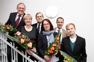 v.l.: Prof. Dr. Stefan Göbel, Prof. Dr. Birgit Piechulla, Prof. Dr. Wolfgang Schareck, PD Dr. Bettina Eichler-Löbermann, Dr. Mathias Neukirchen und Benjamin Pleban