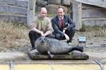 103 kg - Seehunddame Susanne beim Wiegen im Rostocker Zoo