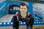 FC-Hansa-Graffiti: Juri Schlünz an der Stadtautobahn