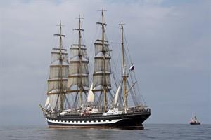 """Die russische Viermast-Bark """"Kruzenshtern"""" hat sich als 100. Teilnehmerschiff zur Hanse Sail angemeldet"""