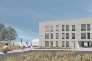 Nördlicher Stadteingang des Rostocker Petriviertels - Visualisierung der möglichen Bebauung, die den 1. Preis erhalten hat (Praeger Richter Architekten GmbH, Berlin)