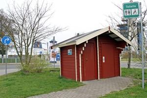Die Trockentoilette am Fähranleger Hohe Düne soll durch ein modernes WC ersetzt werden