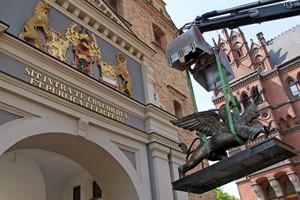 Der Rostocker Greif schwebt vor seinem zweidimensionalen Wappenbild am Steintor