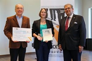 Jurymitglied Ferdinand Klien, Nadine Borchhardt, Rektor Wolfgang Schareck (v.l.) (Foto: Daniel Stepputtis)