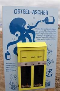 Die Ostsee-Ascher am Strand von Warnemünde bieten Platz für rund 500 Kippen