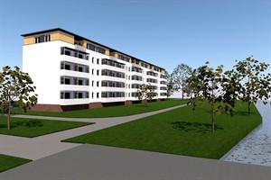 Die Majakowskistraße 34-37 in der Rostocker Südstadt nach der Aufstockung - Schaubild von Südwest (Quelle: Wiro/Architekturbüro Haß + Briese)