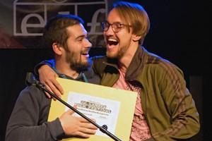 Camou, Gustav Immelmann und Hauke Segert (rechts), gewinnen das 24. Landesrockfestival MV 2016 (Foto: Julius Holtz)
