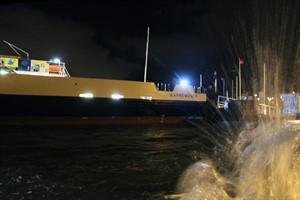 Hochwasser-Bilanz für Rostock - im Bild der Fähranleger am Neuen Strom in Warnemünde