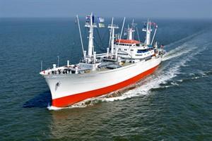 Anlässlich des Internationalen Hansetags vom 21. bis 24. Juni 2018 steuert das Museums-Frachtschiff CAP SAN DIEGO erstmals Rostock an (Foto: Cap San Diego Betriebsgesellschaft mbH)