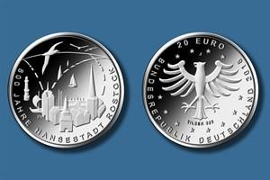 """20-Euro-Gedenkmünze """"800 Jahre Hansestadt Rostock"""" (Quelle: BADV)"""