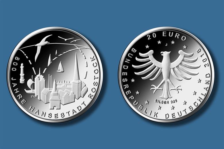 20 Euro Gedenkmünze 800 Jahre Hansestadt Rostock Rostock Heute