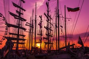 Sonnenuntergang auf der Hanse Sail (Foto: Lutz Zimmermann)