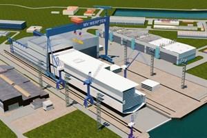 """Visualisierung des Mittschiffs der """"Global""""-Klasse-Kreuzfahrtschiffe, das in Rostock gefertigt wird"""
