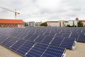 Die Photovoltaikanlage der Stadtwerke auf dem ehemaligen Gaswerk-Gelände