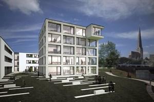 Ein Blick auf den künftigen Campus Altkarlshof, der öffentlich zugänglich sein wird (Quelle: Bastmann + Zavracky BDA Architekten GmbH)