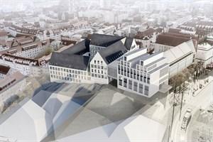Entwurf des Berliner Büros der gmp Architekten von Gerkan, Marg und Partner für den Rathausanbau in Rostock (3. Platz)