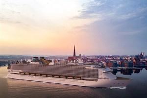Für den Rostocker Stadthafen, wie auf dieser Fotomontage der Werft zu sehen, dürfte das neue Kreuzfahrtschiff der Global Class wohl drei Nummern zu groß sein ...