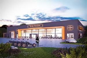 Harley Staalfabrik errichtet neue Handelsniederlassung in Rostock-Brinckmansdorf (Foto: Harley-Davidson)