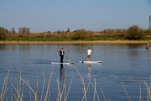 Auch wenn einige den Stadthafen als Betonwüste und das Gehlsdorfer Ufer als verwahrlost empfinden, sind hier viele Freizeisportler und Berufspendler auf dem Rad und auf dem Wasser anzutreffen.