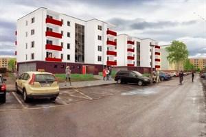 Ansicht des geförderten Wohnungsneubaus in Rostock-Schmarl (Quelle: WGSH)