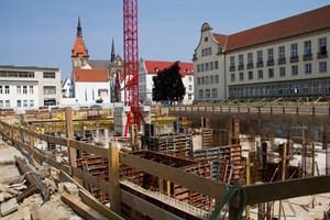 Baustelle am Glatten Aal: Hier sollen hochwertige Eigentumswohnungen und Gewerbeflächen entstehen.