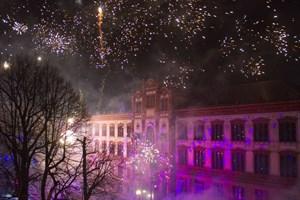 Das Abschlussfeuerwerk der Rostocker Lichtwoche 2018