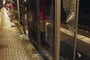 Vandalismus am S-Bahn-Haltepunkt Bramow (Foto: Bundespolizeiinspektion Rostock)