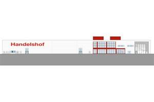 Westansicht des Handelshof-Neubaus in Rostock-Brinckmansdorf (Quelle: Handelshof)