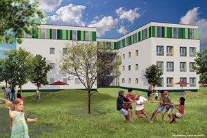 Baustart in Dierkow: Ehemaliges SBZ in der Lorenzstraße wird Kita (Visualisierung: matrix architektur)