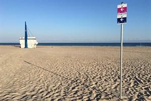 Beschilderung der Thalasso-Kurwege am Strand von Warnemünde (Foto: TZRW)