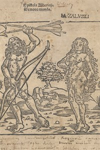 Der Titelholzschnitt zeigt Bewohner der Neuen Welt, einen Mann mit Pfeilen und Bogen in der Hand und eine Frau. (Foto: Universitätsbibliothek Rostock)