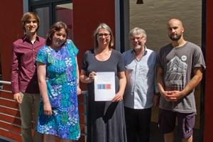 Kai Budde, Prof. Dr. Gesa Mackenthun, Kira Ludwig, Prof. Dr. Ralf Ludwig und Daniel Walia von Scientists for Future Rostock