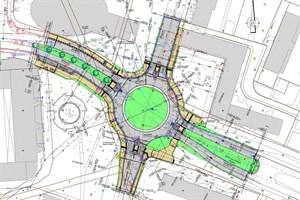 Umbau zum Kreisverkehr in Reutershagen beginnt am Montag (Skizze: Amt für Verkehrsanlagen)