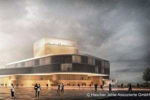 Theaterneubau Rostock - Siegerentwurf, Ansicht von der Langen Straße (Entwurf: Hascher Jehle Assoziierte GmbH, Berlin)