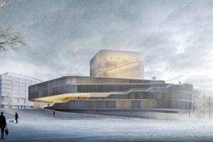 Theaterneubau Rostock - Siegerentwurf, Ansicht vom Stadthafen (Entwurf: Hascher Jehle Assoziierte GmbH, Berlin)