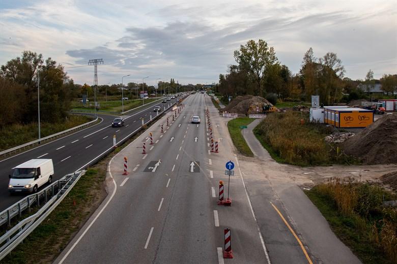 Baustelle auf Stadtautobahn