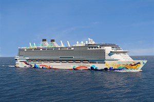 "Visualisierung der ""Global Dream"" mit ihrer finalen Rumpfbemalung (© Dream Cruises)"