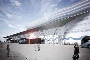 So soll das neue Kreuzfahrtterminal in Warnemünde aussehen (Visualisierung: Bastmann+Zavracky BDA Architekten GmbH)