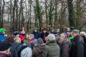 Stephan Porst (Bündnis 90/Die Grünen) und Dr. Jobst Mehlan (Rostocker Bund/Freie Wähler) vom Ortsbeirat Warnemünde suchen mit Anwohnern nach einem Kompromiss für den Radweg in der Parkstraße, ohne 120 Bäume im Küstenwald zu fällen