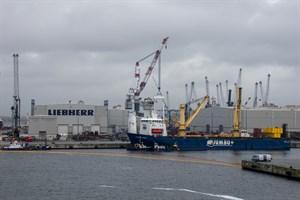Nachdem zwei Hafenkräne beim Verladen im Rostocker Überseehafen über Bord gegangen sind, bleibt das Hafenbecken B voerst gesperrt