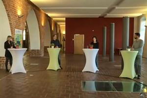 Live-Chat zur Bürgerbeteiligung für die Buga 2025 in Rostock: Renate Behrmann (v.l.), Robert Strauß, Teresa Trabert und Matthias Horn (Screenshot)