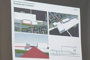 """Die Rampe für die Brücke über die L22 """"Am Strande"""" könnte um die Markthalle im Stadthafen herumgeführt werden"""
