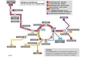 Gleiserneuerung in der Rosa-Luxemburg-Straße: Linienänderungen ab 22. Juni 2020 (Quelle: RSAG)