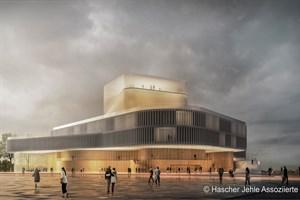 Theaterneubau Rostock - Ansicht von der Langen Straße (Entwurf: Hascher Jehle Assoziierte GmbH, Berlin)