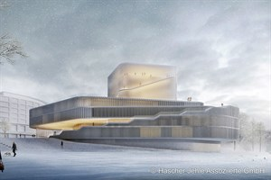 Neubau, Volkstheater Rostock - Ansicht vom Stadthafen (Entwurf: Hascher Jehle Assoziierte GmbH, Berlin)