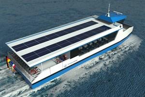 Die neue Elektro-Solar-Personenfähre wird ab Mitte 2021 auf der Warnow in Rostock verkehren. (Computergrafik: Ostseestaal)