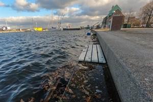 Sturmflut am 2. Januar 2019 im Stadthafen Rostock (Foto: Archiv)