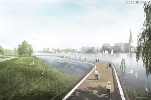 Wasserweg mit Altstadtblick im Stadtpark Rostock (Visualisierung: RMP Stephan Lenzen Landschaftsarchitekten)