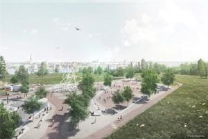 Freizeitplateau mit Klimaleuchtturm im Buga-Stadtpark Rostock (Visualisierung: RMP Stephan Lenzen Landschaftsarchitekten)