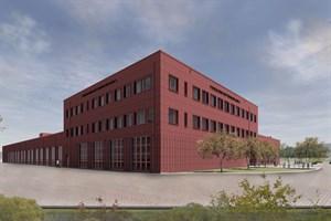 So soll die neue Feuer- und Rettungswache 3 in Rostock-Dierkow aussehen (Visualisierung: Planungsgruppe Gestering | Knipping Architekten | Generalplaner PartmbB)